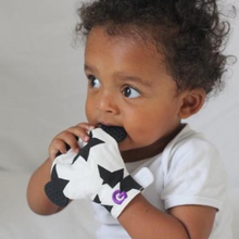 Load image into Gallery viewer, Gummee glove teething mitten Black and White Monochrome + teething ring