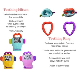 gummee glove teething mitten for babies teething ring set with silicone baby teether teething guide