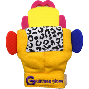 silicone gummee glove shaped teether can be fitted into all of our Gummee gloves