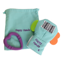 Load image into Gallery viewer, Gummee mouthing gloves for additional / special needs for any child that bites their hands travel / laundry bag and detachable heart teether