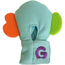 Load image into Gallery viewer, Gummee mouthing gloves for additional / special needs for any child that bites their hands rear view