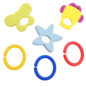 teething ring set with silicone teether links baby teething