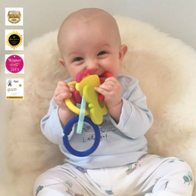 Load image into Gallery viewer, teething ring set with silicone teether links baby teething teething toys