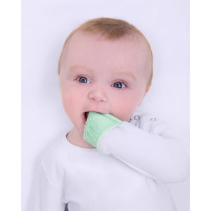teething mitten babygro in use
