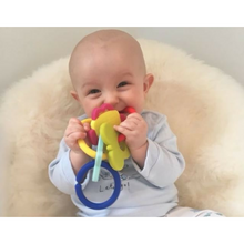 Load image into Gallery viewer, teething toy with silicone teether links baby teething in use