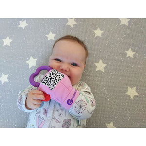 gummee glove teething mitten for babies teething ring set with silicone baby teether perfect for baby shower gift in use