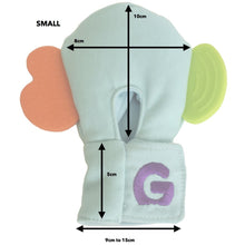 Load image into Gallery viewer, Gummee mouthing gloves for additional / special needs for any child that bites their hands measurements