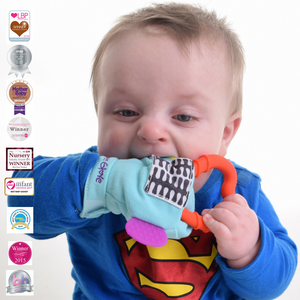 gummee glove teething mitten for babies teething ring set with silicone baby teether in use