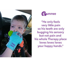 Load image into Gallery viewer, Gummee mouthing gloves for additional / special needs for any child that bites their hands testimonial