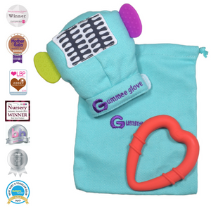 gummee glove teething mitten for babies teething ring set with silicone baby teether