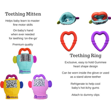 Load image into Gallery viewer, gummee glove teething mitten for babies teething ring set with silicone baby teether teething guide teething guide