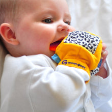 Load image into Gallery viewer, gummee glove teething mitten for babies teething ring set with silicone baby teether in use