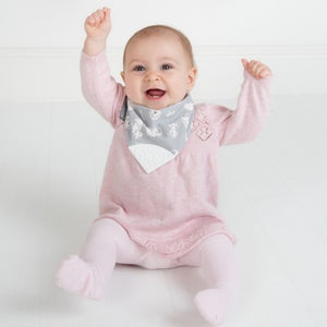 baby teething bib in use