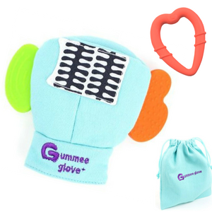 gummee glove teething mitten for toddlers teether chew mitt with detachable teething ring and laundry bag