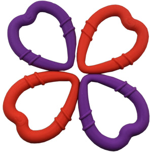 detachable silicone heart teething ring for young teethers pain relief for teethers in 2 different colours