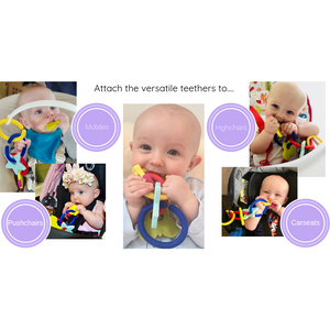 teething bangle or bracelet for parent to wear and child to teethe on in use
