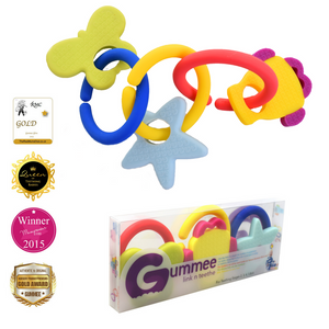 teething toy with silicone teether links baby teething in PET packaging