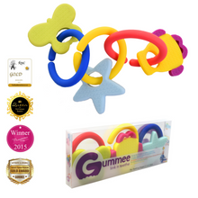 Load image into Gallery viewer, teething ring set with silicone teether links baby teething teething toy