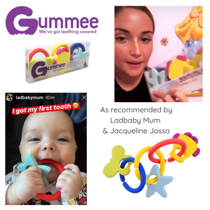 jacqueline jossa with teething ring set with silicone teether links baby teething