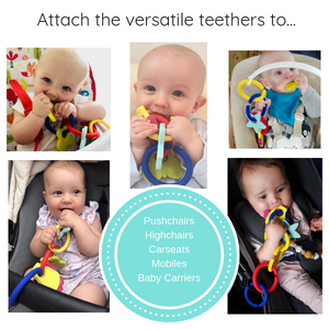 teething links for pushchairs, highchairs, car seats and shopping trollies