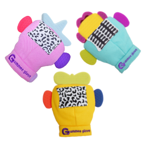 silicone gummee glove shaped teether is part of our link and teethe set
