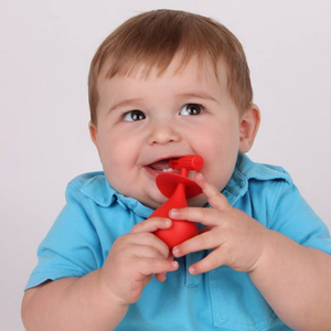 molar teether back teeth teething toy hygienically designed with wobble base in use