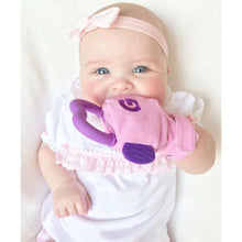 Load image into Gallery viewer, gummee glove teething mitten for babies teething ring set with silicone baby teether perfect for baby shower gift in use