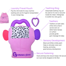 Load image into Gallery viewer, gummee glove teething mitten for babies teething ring set with silicone baby teether teething guide