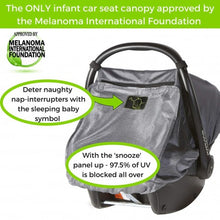 Load image into Gallery viewer, snooze shade car seat uv and sun cover with info