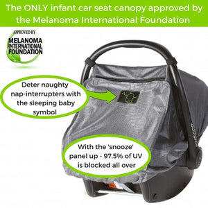 snooze shade car seat uv and sun cover with info