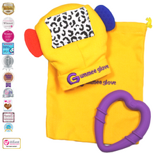 Load image into Gallery viewer, gummee glove teething mitten for babies teething ring set with silicone baby teether with detachable heart teether and laundry / travel bag