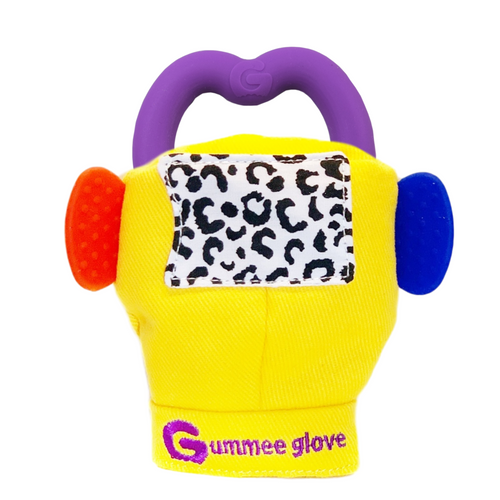 gummee glove teething mitten for babies teething ring set with silicone baby teether yellow perfect for baby shower gift