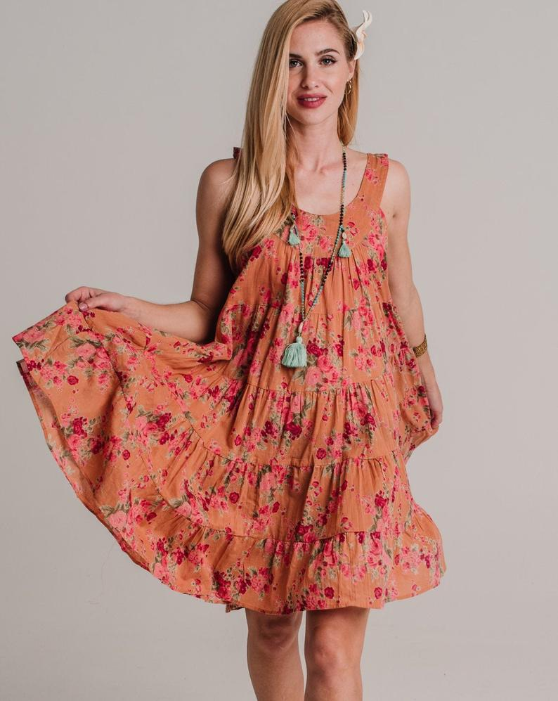 Short Cali Dress - Peach Floral