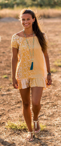 Yellow  Short  Dress,  CALI SUMMER DRESS