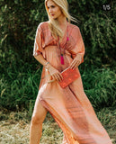 Boho Silk Peach Summer Dress Kaftan, CANNES DRESS