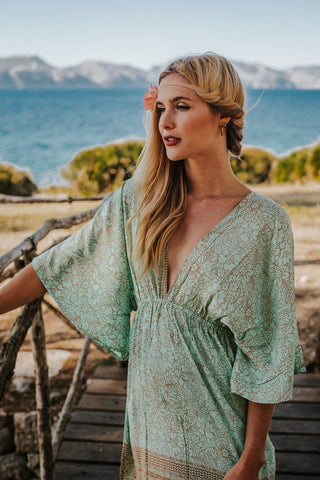 Boho Silk Sea Green Summer Dress Kaftan, CANNES DRESS