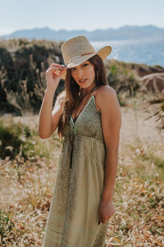 Green Boho Maxi Summer Dress, TRENC DRESS