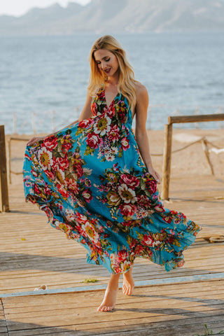 Ibiza Turquoise Floral Dress