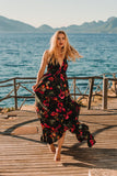 Black Floral Boho Maxi Summer Dress, IBIZA DRESS