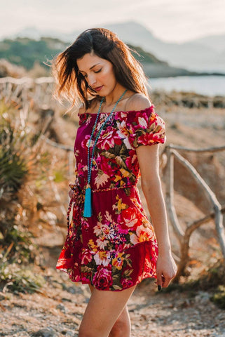Red Floral Short Dress, CALI DRESS