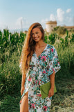 Boho White Floral Summer Dress Kaftan, BORA BORA DRESS