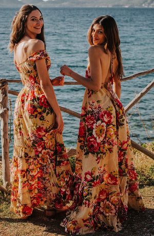cruise dress resort wear vacation dress floral bohemian maxi