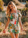 White Green Floral Short Cotton Summer Dress, CALI  DRESS