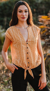 tribal top golden silk button down top