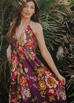 Purple Floral Boho Cotton Maxi Summer Dress, IBIZA DRESS