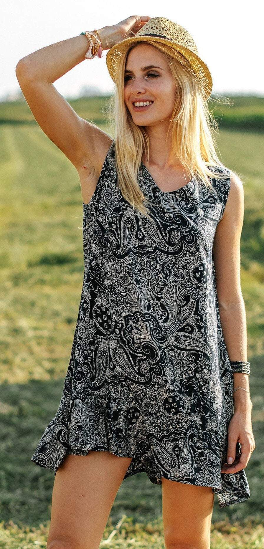 resort wear paisley boho dress cruise wear