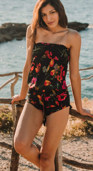 Floral Playsuit floral romper Resort wear beachwear bohemian romper