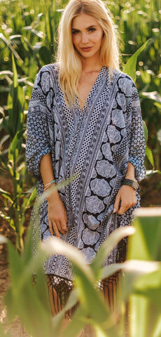 Blue Boho Soft Summer Dress Kaftan MONTENEGRO