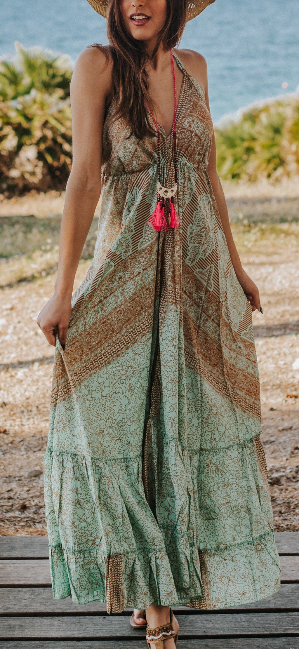 cruise dress resort wear vacation dress paisley bohemian maxi