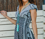 Boho Navy Blue Mid Summer Dress, RIO DRESS